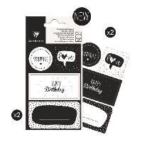 Etiquette Cadeau CLAIREFONTAINE 16 étiquettes anniversaire - 4 planches visuels assortis sous sachet