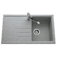 Evier De Cuisine Evier Topaze 1 bac 1 egouttoir 86x50 cm granit gris