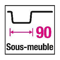 Evier De Cuisine Evier cuisine a poser timbre d'office 2 bacs sans egouttoir - Ceramique - 90 x 63 cm - Blanc