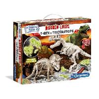 Experience Scientifique - Physique-chimie CLEMENTONI Archéo Ludic - T-Rex & Tricératops Phosphorescents - Science & Jeu