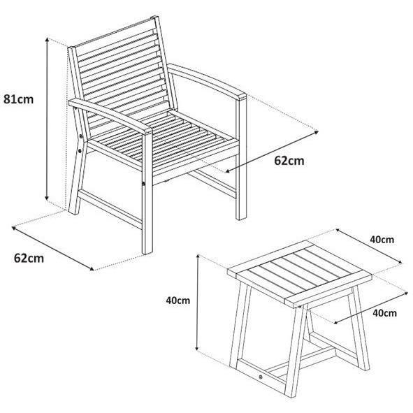 Détails sur FINLANDEK - Salon de jardin table + 2 fauteuils en acacia -  Gris - LOMA