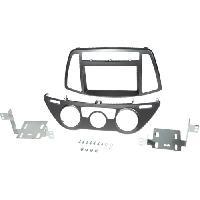 Facade autoradio Hyundai Kit 2Din pour Hyundai i20 ap12 - clim manuelle - gris fonce - ADNAuto