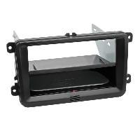 Facade autoradio SsangYong Kit Facade autoradio 2DIN compatible avec Seat Skoda VW ap03 Avec vide poche Induction Qi Noir Rubber touch