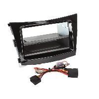 Facade autoradio SsangYong Kit Facade autoradio 2DIN compatible avec Ssangyong Tivoli ap15 Avec vide poche Induction Qi Noir brillant
