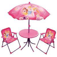 Fauteuil - Chaise Longue - Matelas Gonflable Piscine Fun House Disney princesses salon de jardin composé d'une table. de 2 chaises pliables et un parasol pour enfant