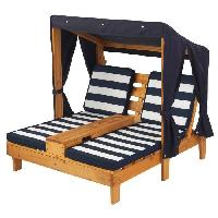 Fauteuil - Chaise Longue - Matelas Gonflable Piscine KIDKRAFT 00524 Double chaise longue pour Enfantavec porte-gobelets - Miel et bleu marine