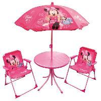 Fauteuil - Chaise Longue - Matelas Gonflable Piscine MINNIE Salon de jardin composé d'une table. de deux chaises et d'un parasol pour enfant - Disney - Fun House