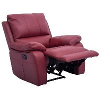 Fauteuil ALFRED Fauteuil de relaxation électrique en cuir et simili rouge - Contemporain - L 92 x P 94 cm - Aucune