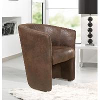 Fauteuil BAYA fauteuil cabriolet marron aspect vielli
