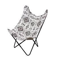 Fauteuil BIRDY Fauteuil Papillon Ethnique - Tissu Noir Et Blanc - L 74 x P 79 x H 101 cm - Aucune
