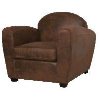 Fauteuil CORONA Fauteuil club - Tissu imitation cuir marron vieilli - Industriel - L 89 x P 90 cm