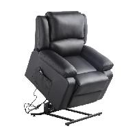 Fauteuil Fauteuil de relaxation RELAX - Simili noir - Moteur electrique et lift releveur