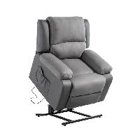 Fauteuil Fauteuil de relaxation releveur RELAX - Simili gris et tissu gris - Moteur électrique et lift releveur - Aucune