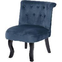 Fauteuil LIZY Fauteuil Crapaud - Velours bleu fonce - Classique - L 56 x P 63 cm