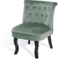 Fauteuil LIZY Fauteuil Crapaud - Velours vert clair - Classique - L 56 x P 63 cm