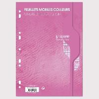 Feuillet Mobile - Copie Double CALLIGRAPHE Feuilles simples couleur Rose perforees - 210 x 297 mm - 100 pages - Seyes papier Velin Surfin 80 g avec encart