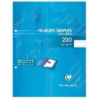 Feuillet Mobile - Copie Double CLAIREFONTAINE Feuilles simples blanches perforees - 170 x 220 mm - 200 pages - Seyes papier PEFC 90 g - Sous etui filme