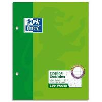 Feuillet Mobile - Copie Double OXFORD - 200 Copies doubles perforées - Grands carreaux - 22 cm x 17 cm x 0.9 cm