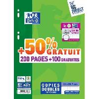 Feuillet Mobile - Copie Double OXFORD - Copies doubles perforées 300 pages seyes - 90g