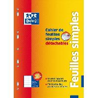 Feuillet Mobile - Copie Double OXFORD Cahier de 100 Feuilles simples - Grands carreaux - 29.5 cm x 21 cm x 0.6 cm