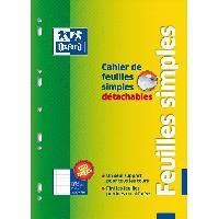 Feuillet Mobile - Copie Double OXFORD Cahier de 100 Feuilles simples - Petits carreaux - 29.5 cm x 21 cm x 0.6 cm