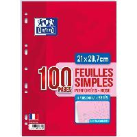 Feuillet Mobile - Copie Double OXFORD Feuilles mobiles A4 Seyes - Rose