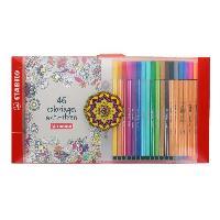 Feutres Coffret de coloriage 18 feutres -12 STABILO Pen 68 + 6 STABILO point 88 + 1 carnet de 46 coloriages anti-stress
