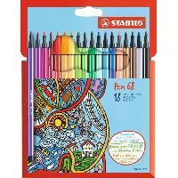 Feutres Etui carton de 18 feutres de coloriage Pen 68
