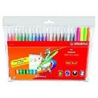 Feutres Etui carton de 24 feutres de coloriage Trio A-Z - Coloris assortis dont 4 fluo