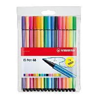 Feutres Pen 68 - Pochette de15 feutres de coloriage - coloris assortis dont 5 fluo