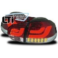 Feux Arrieres VW 2 Feux adaptables LTI pour VW Golf 6 08-12 rouge-chromee clignotant led