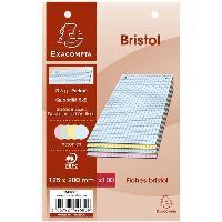 Fiche Bristol EXACOMPTA - 100 Fiches Bristol Couleurs - 4 coloris assortis - Perforées - 12.5 x 20 - 5x5 - Papier P.E.F.C 205G