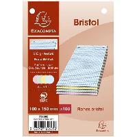 Fiche Bristol EXACOMPTA - 100 Fiches Bristol couleurs - 4 coloris assortis - Perforées - 10 x 15 - 5x5 - Papier P.E.F.C 205G