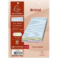 Fiche Bristol EXACOMPTA - 100 Fiches Bristol couleurs - 4 coloris assortis - Perforées - 14.8 x 21 - 5x5 - Papier P.E.F.C 205G