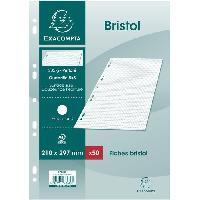 Fiche Bristol EXACOMPTA - 50 Fiches Bristol blanches - 21 x 29.7 - Non perforées - 5 x 5