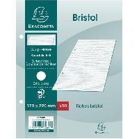 Fiche Bristol EXACOMPTA - 50 fiches Bristol blanches - 17 x 22 - Perforées - 5 x 5 - Papier P.E.F.C 205G