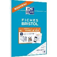 Fiche Bristol OXFORD - Bloc fiche bristol 2.0 perforé - 14.8 x 21 cm - 30 fiches - 210g - 5x5