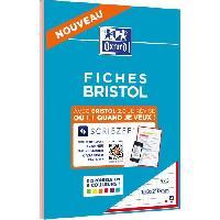 Fiche Bristol OXFORD - Bloc fiche bristol 2.0 perforé - 14.8 x 21 cm - 30 fiches - 210g - 5x5 - Rouge