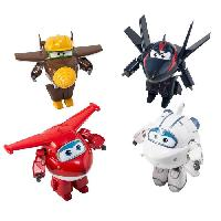 Figurine - Personnage Miniature SUPER WINGS Coffret de 4 transforming 12 cm - JettAstraAgent ChaceTodd