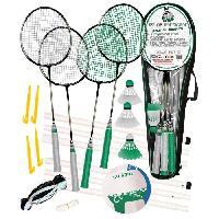 Filet - Poteaux De Filet - Arrimage Filet De Badminton Ensemble Badminton 4 Raquettes + Ballon Multi-Jeux Taille 5.