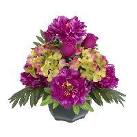 Fleur-plante Artificielle - Fleur Sechee Coupe pivoines. hortensias et boutons de rose - 32 cm
