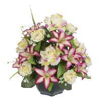 Fleur-plante Artificielle - Fleur Sechee Coupe roses et lys - 37 cm