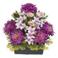 Fleur-plante Artificielle - Fleur Sechee Jardiniere dahlias. lys et pomponnettes - 37 cm