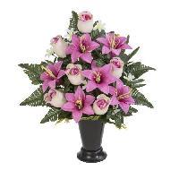 Fleur-plante Artificielle - Fleur Sechee UNE FLEUR EN SOIE Cone boutons de rose et lys - 49 cm