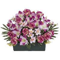 Fleur-plante Artificielle - Fleur Sechee UNE FLEUR EN SOIE Jardiniere TGM roses et lys - 50 cm