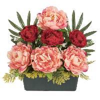 Fleur-plante Artificielle - Fleur Sechee UNE FLEUR EN SOIE Jardiniere de pivoines - 36 cm