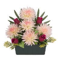 Fleur-plante Artificielle - Fleur Sechee UNE FLEUR EN SOIE Jardiniere tockios et boutons de rose - 35 cm