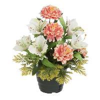 Fleur-plante Artificielle - Fleur Sechee UNE FLEUR EN SOIE Pot dahlias. alstromerias - 34 cm