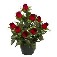 Fleur-plante Artificielle - Fleur Sechee UNE FLEUR EN SOIE Pot de boutons de rose - 34 cm