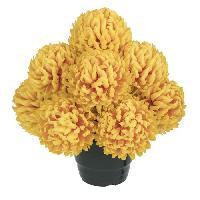 Fleur-plante Artificielle - Fleur Sechee UNE FLEUR EN SOIE Pot de chrysanthemes boules feu - 36 cm